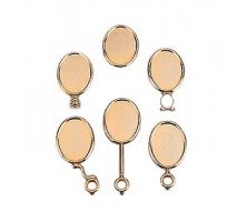 Oval medalion gold with handle 90x66x6 mm